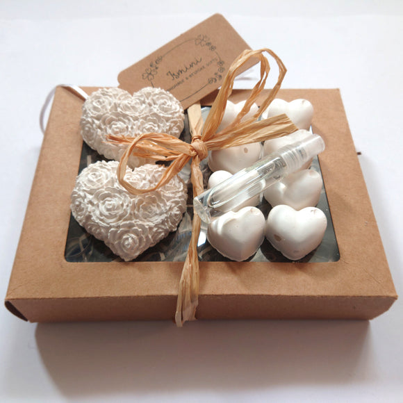 Handmade plaster of Paris hearts, home deco, diffusers, air fresheners, essential oils