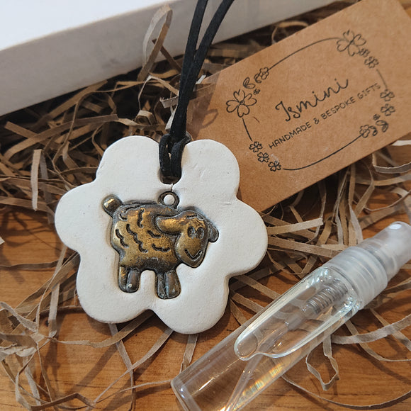 Handmade air dry clay vintage sheep charm,essential oil car diffuser, aromatherapy