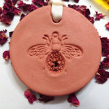 Handmade terracotta large ornament, bee ornament satin ribbon, essential oils, home deco, home fragrance.
