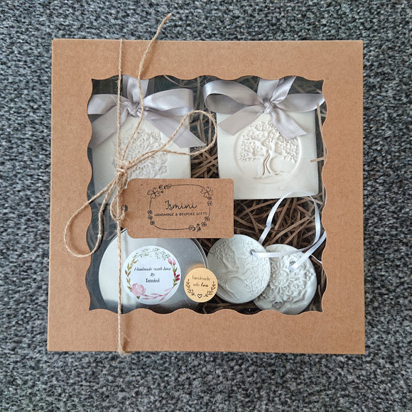Gift set, rustic country chic gift set clay diffusers essential oils aromatherapy
