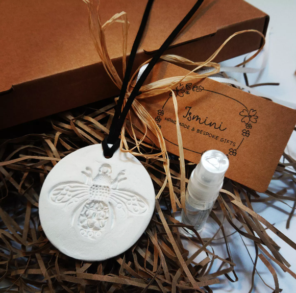 Handmade air dry clay stamped bee car diffuser, essential oils, aromatherapy