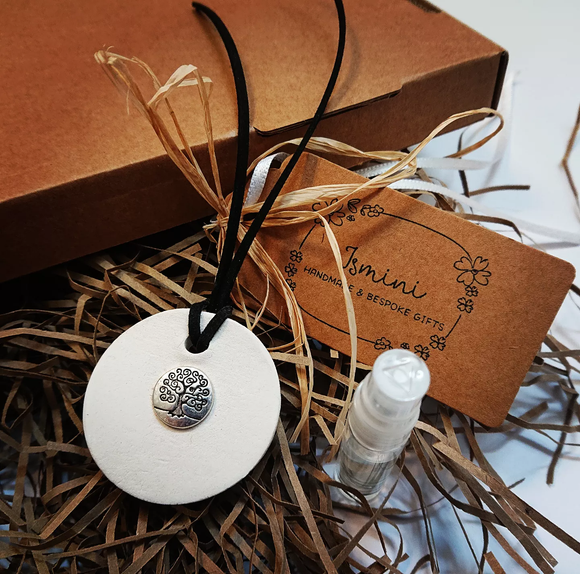Handmade air dry clay tree of life charm ,essential oils car diffuser ,aromatherapy