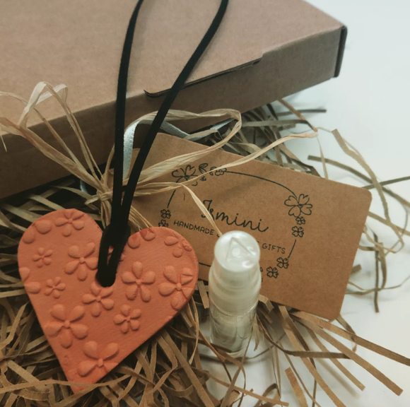 Handmade terracotta clay heart diffuser, essential oils, aromatherapy