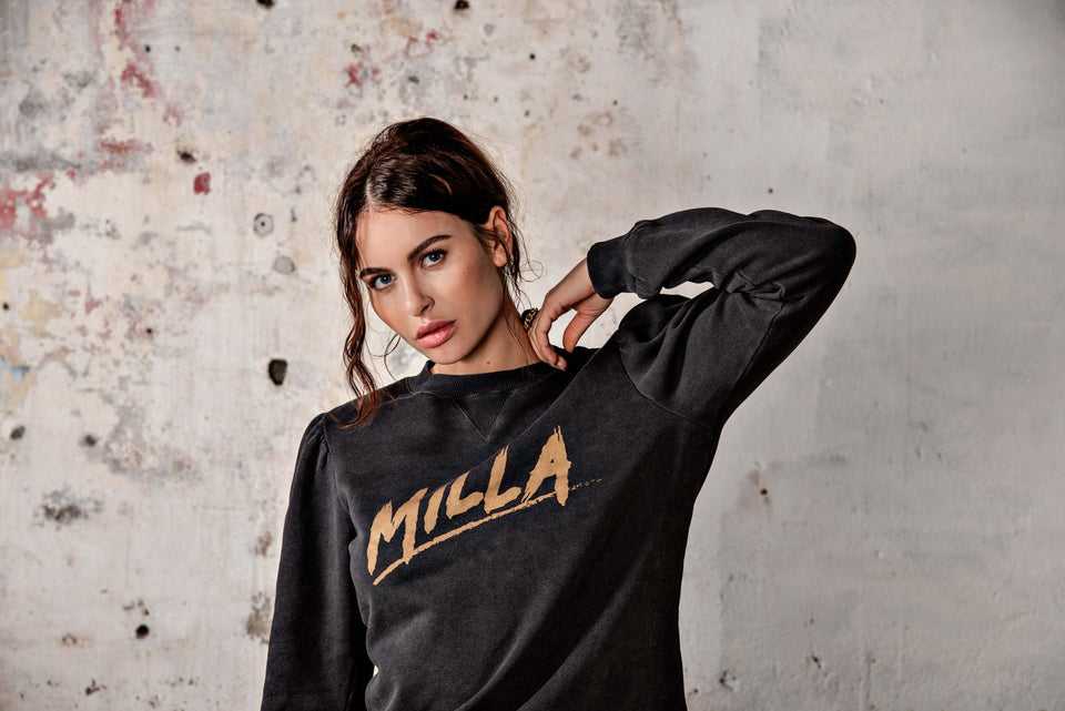 Sienna Sweater - Anthracite Logo Print