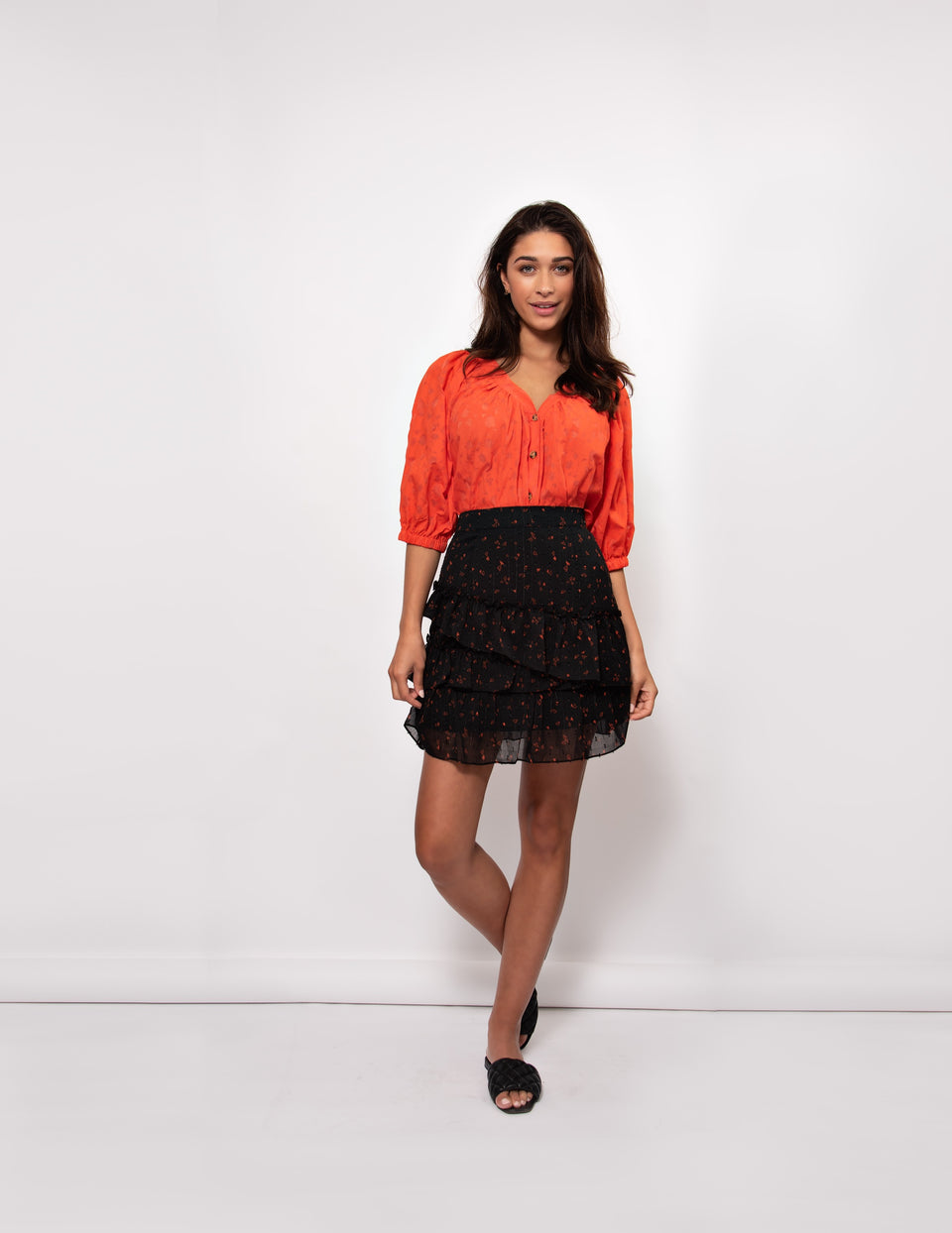 Brenda Blouse - Spicy Orange