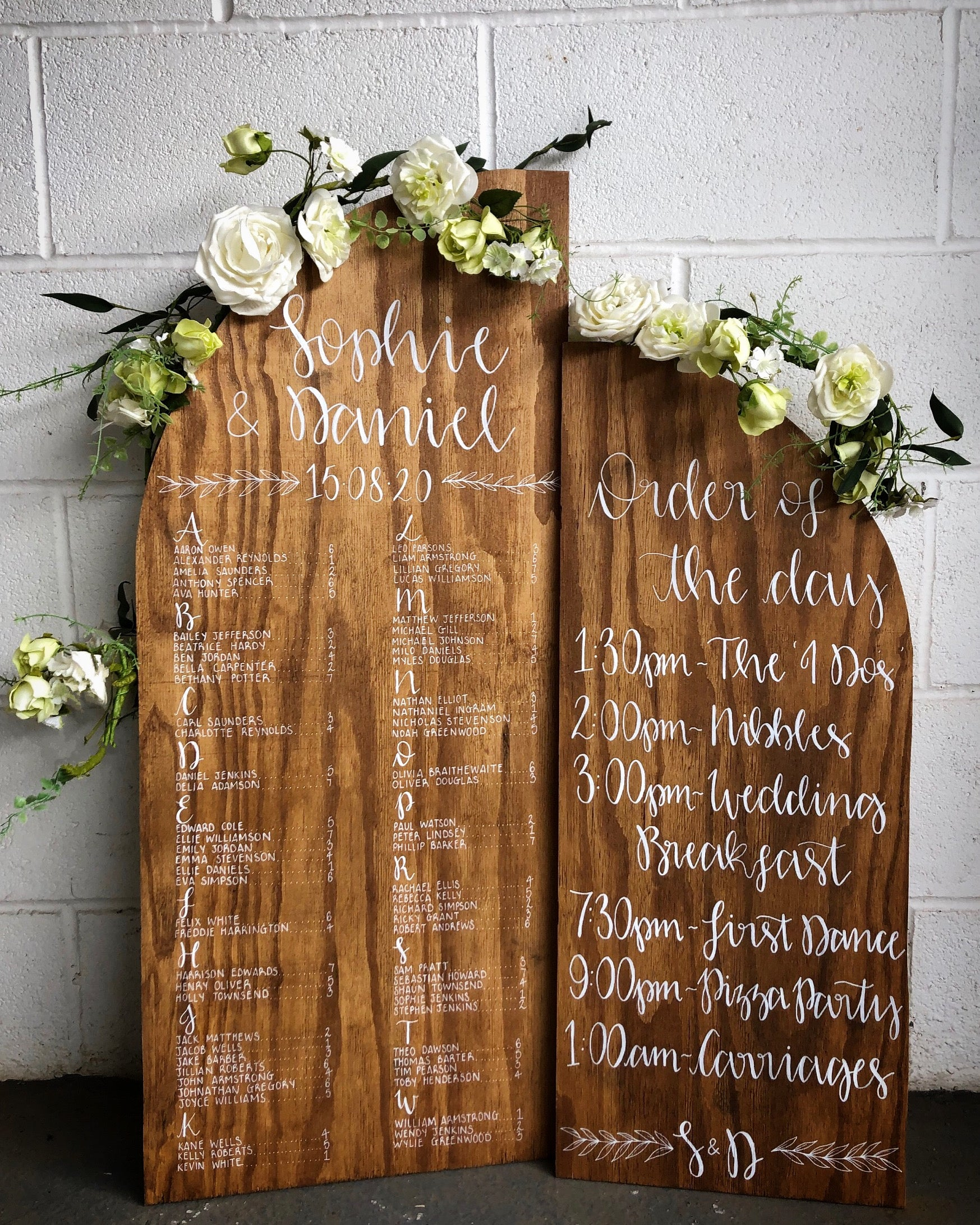 Curved Rustic Wooden Order Of The Day Sign