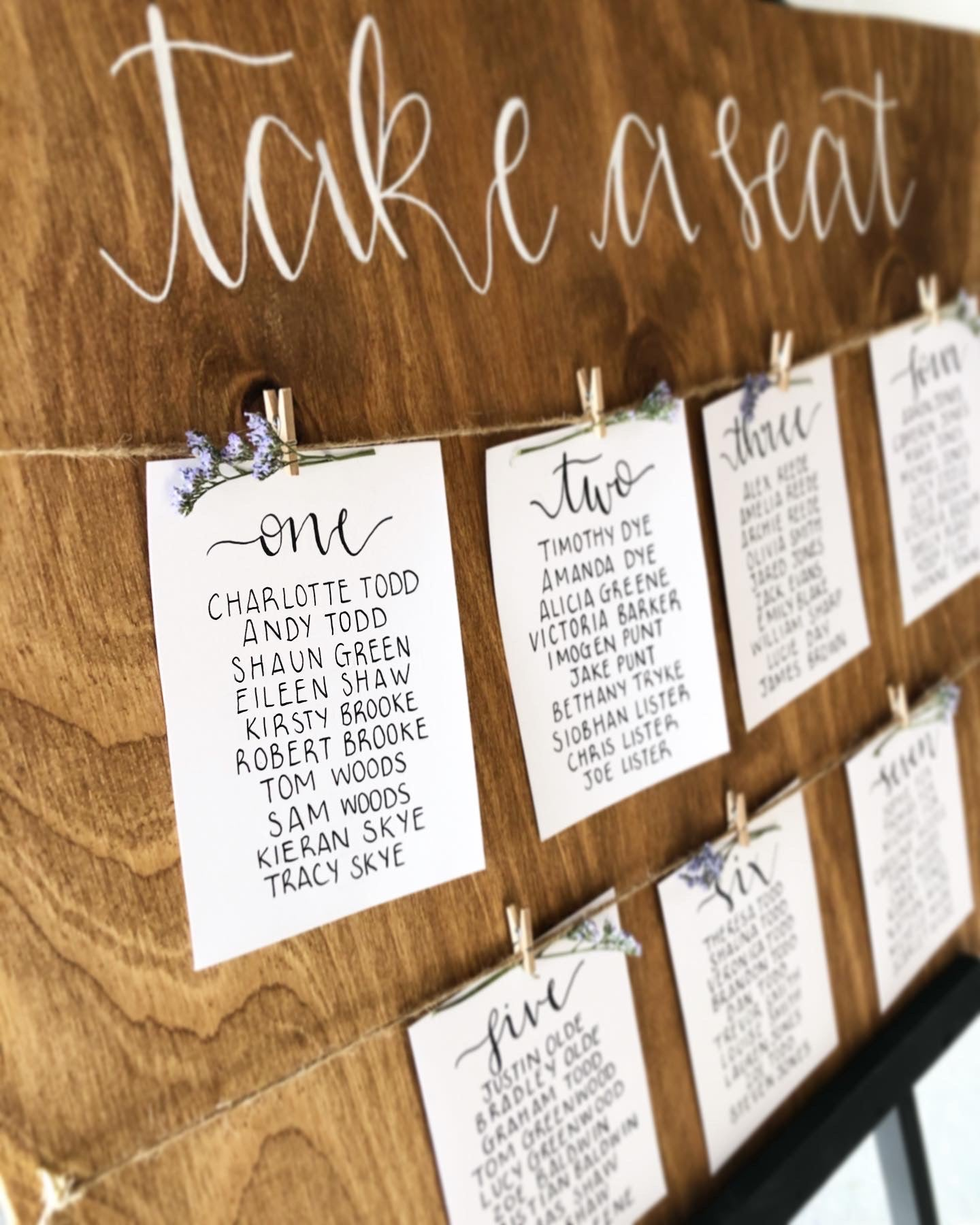 Rustic Wooden Card Wedding Seating / Table Plan