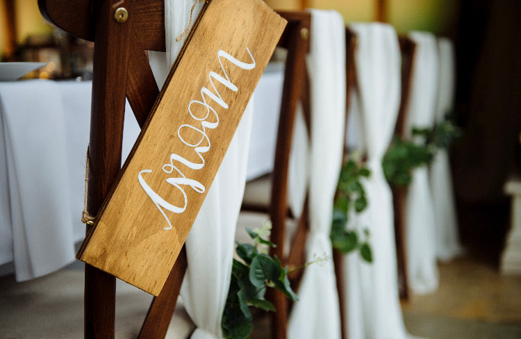 Rustic Wooden 'Bride' and 'Groom' Signs