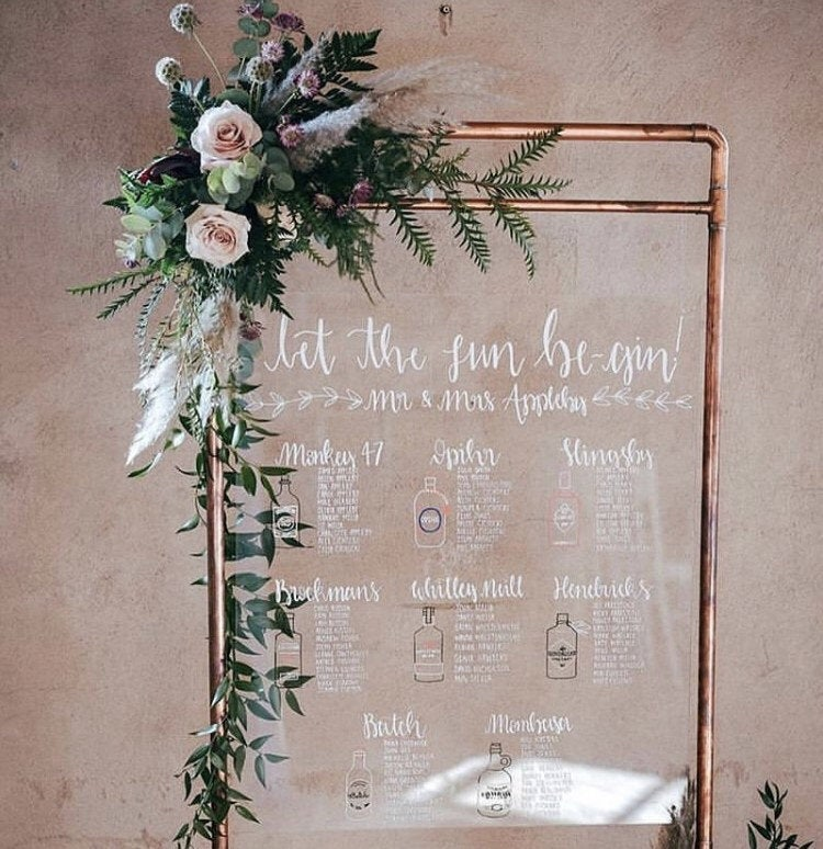 Perspex Acrylic Gin Wedding Seating / Table Plan