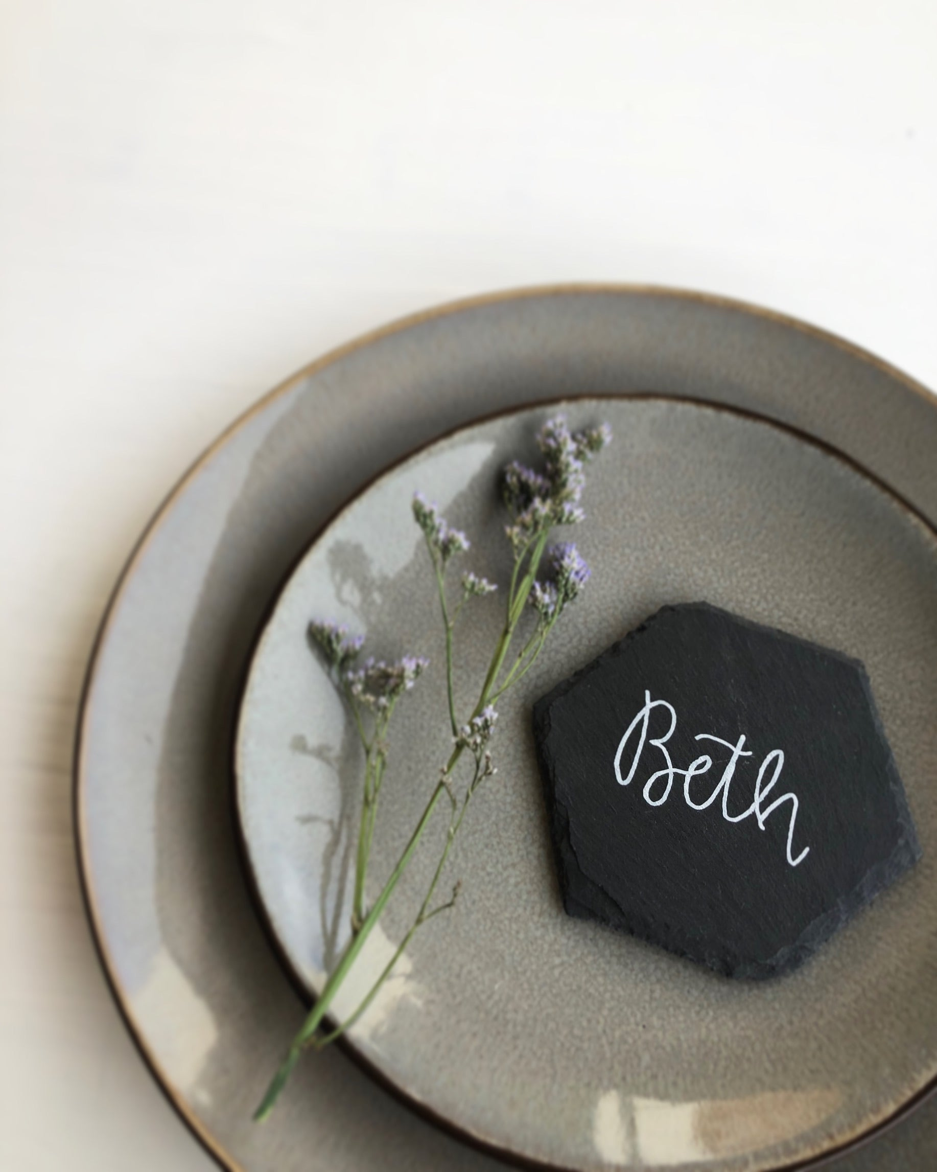 Hexagon Slate Wedding Place Names