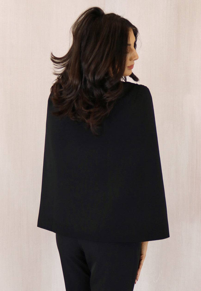 Collarless Split Sleeve Cape Blazer in Black