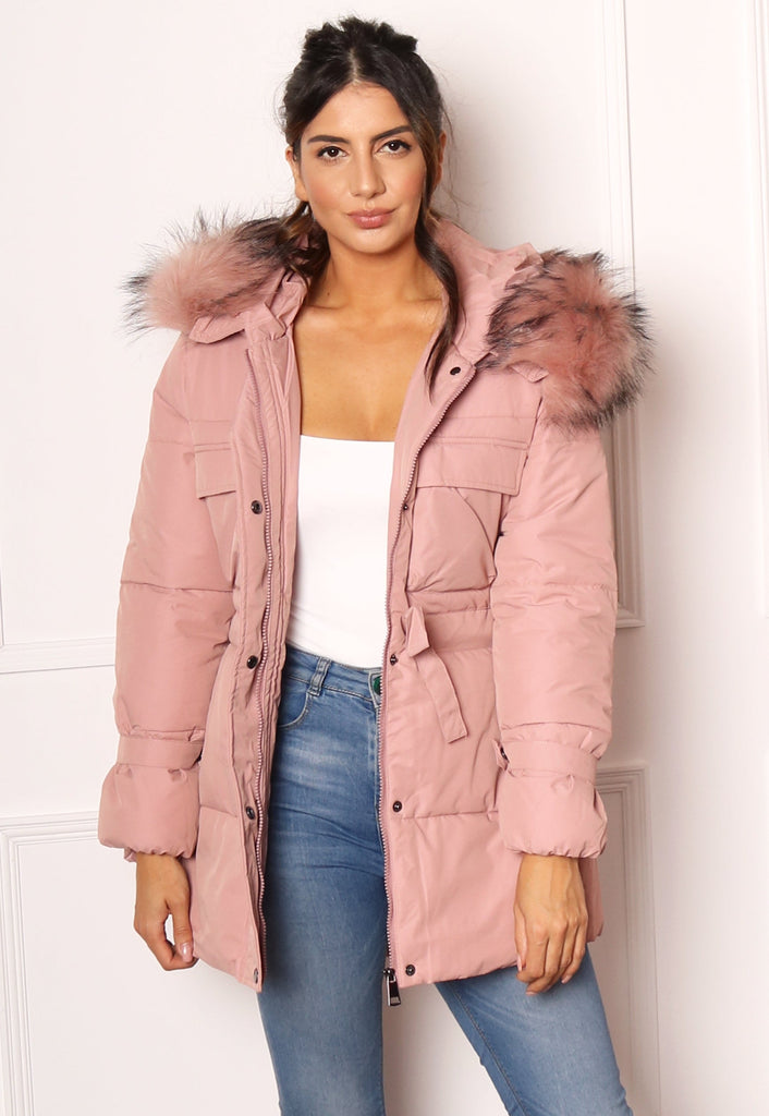 Clara Quilted Longline Hooded Puffer Coat with Faux Fur Trim & Tie Waist in Dusky Pink - One Nation Clothing