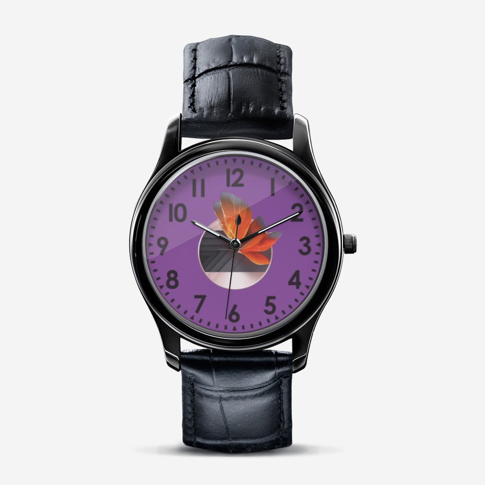 Women Purple Flower Watch