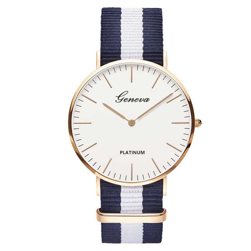 Womens Nylon Geneva strap Watch