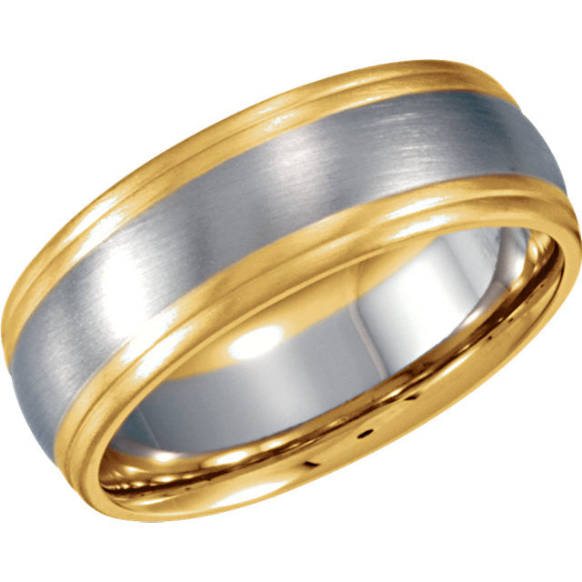 9 > Size > Band > Design > 8mm > White & Yellow > 14kt