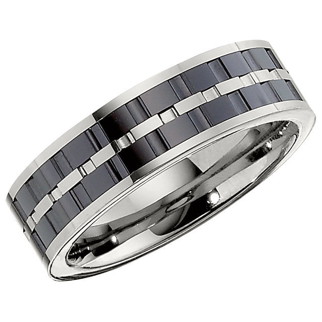 Band > Inlay > Couture > 7mm & Ceramic > Tungsten