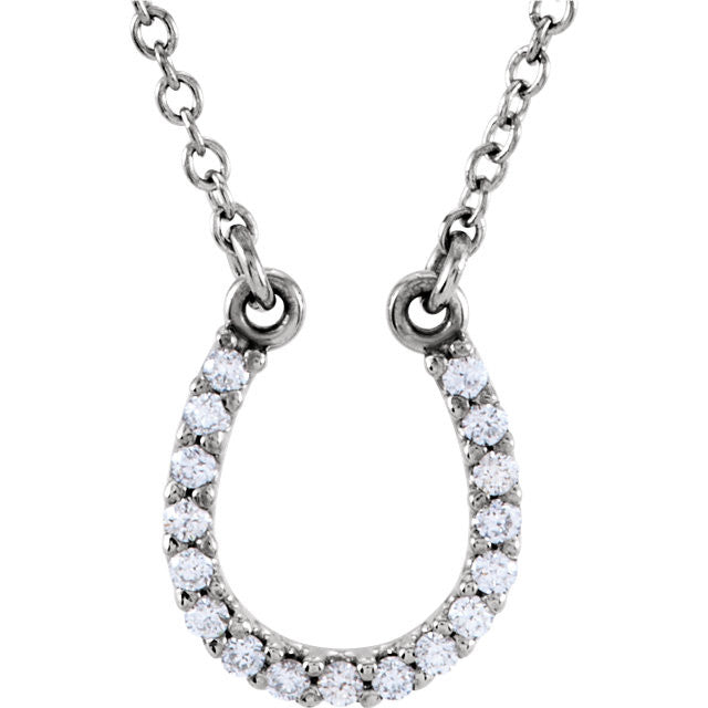 Necklace > Horseshoe > & > Diamond > .08 CTW