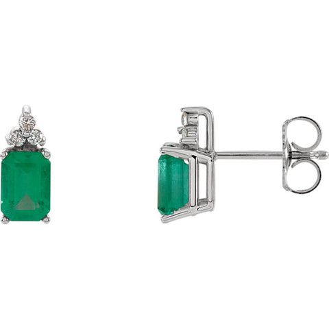 Earrings > Emerald & Diamond > Genuine