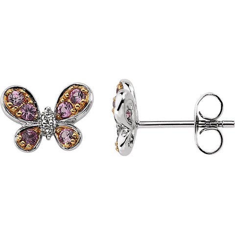 Earrings > Butterfly > Sapphire & Diamond > Pink