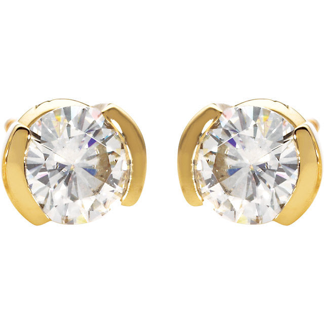 Earrings > Round > Moissanite > Created