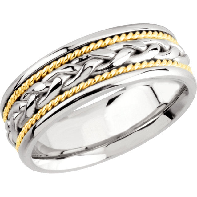10.5 > Band > Hand-Woven > 8mm > Two-Tone > 14kt