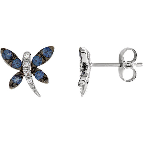 Earrings > Dragonfly > Sapphire & Diamond > Blue