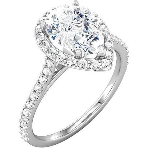 1.38 CTW Haloed Pear Cut Diamond Engagement Ring