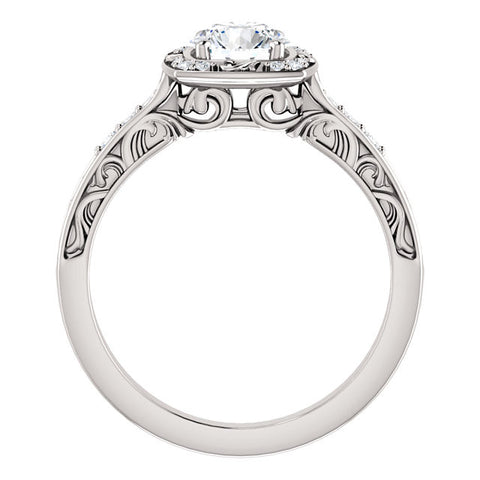 Engraved Scroll Flourish Round Brilliant Cut Diamond Halo Engagement Ring