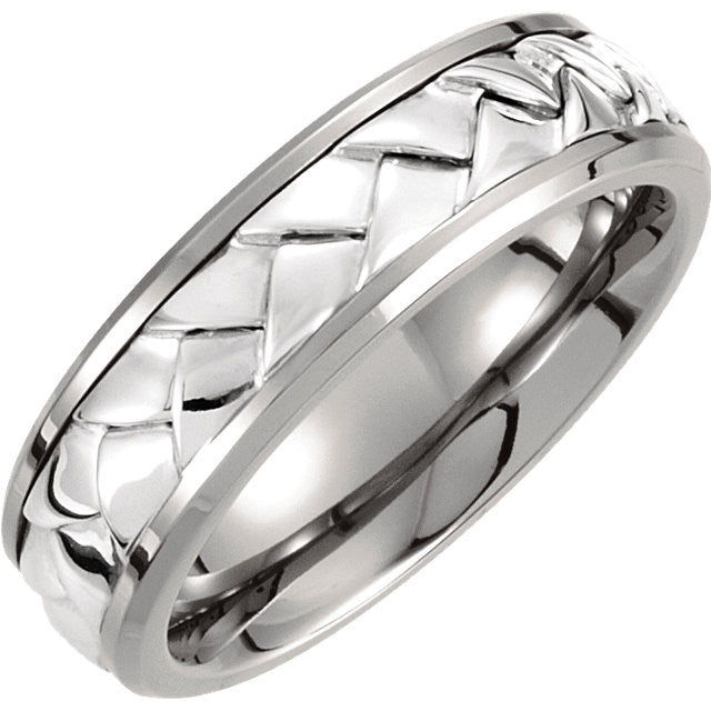 .5 > Band > Woven > 7mm > Inlay > Silver > Titanium & Sterling
