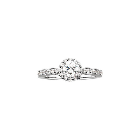 Haloed Round Brilliant Cut Diamond Engagement Ring