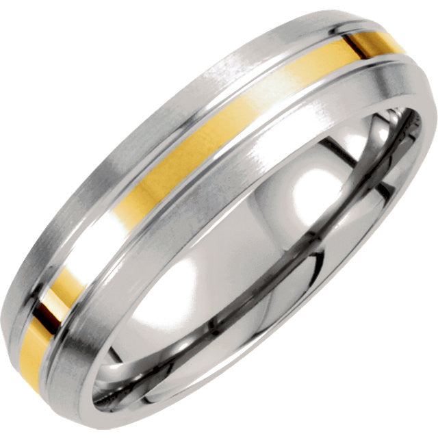 .5 > Band > Finshed > Satin > 6mm > Inlay > Yellow > Titanium & 14kt
