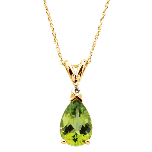 "Necklace > 18"" > Peridot & Diamond"