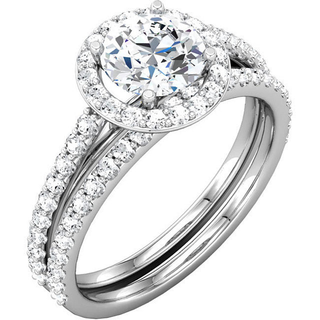 Split-shank Haloed Round Brilliant Cut Diamond Engagement Ring