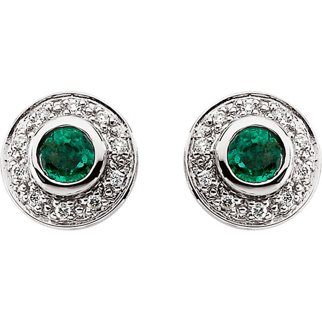 Earrings > Diamond > CTW > 1/Emerald & 1 > Round > 3.5mm