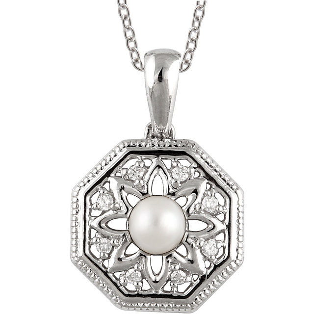 "Necklace > 18"" > Diamond > .05 CTW > & > Pearl > Cultured > Freshwater"