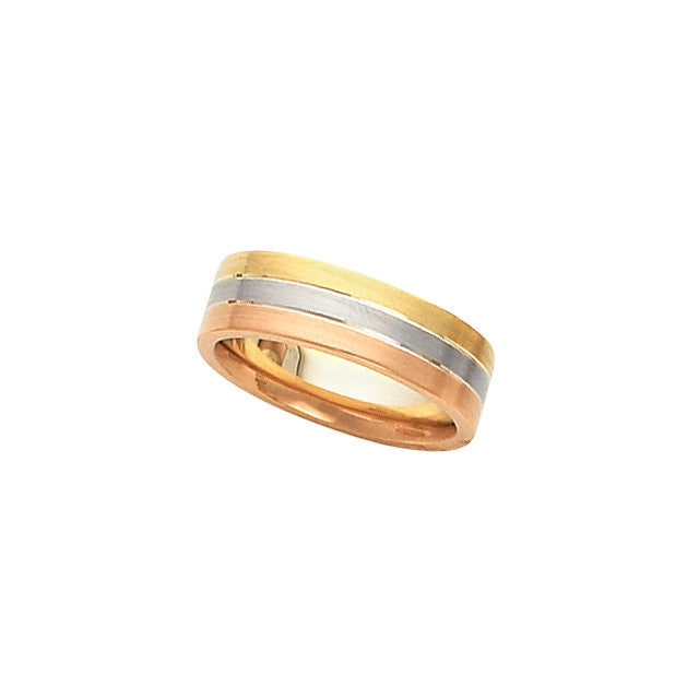 Band > Wedding > Tri-Color > Rose > & > White, > Yellow, > 14kt