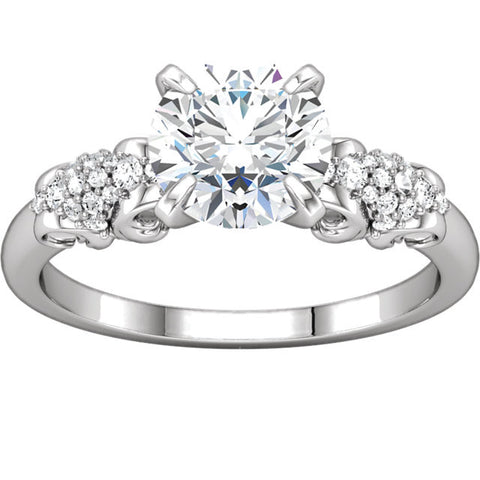 Zirconia > Cubic > 7.5mm > with > Ring > Engagement > Diamond > 1/6 CTW > Silver > Continuum