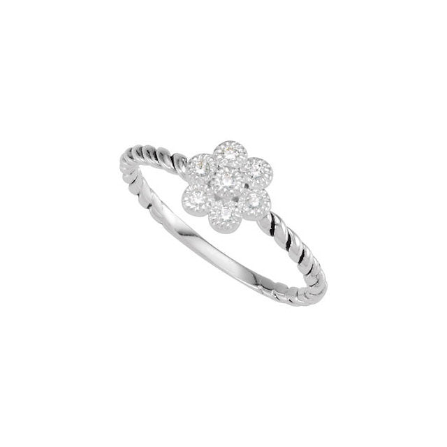 8 > Ring > Flower > CZ > 8mm > Fashion > Stackable