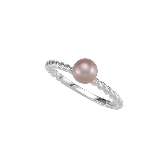 Ring > Pearl > Glass > 6.0mm > Pink > Stackable