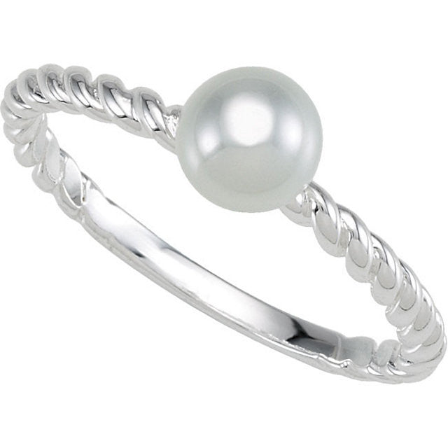 Ring > Pearl > Glass > 6mm > White > Stackable