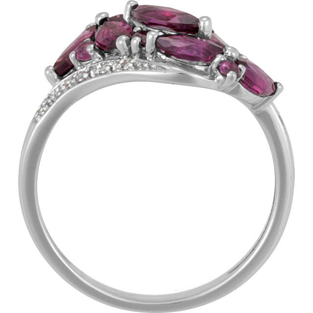 Ring > Garnet & Diamond > Brazilian > Genuine
