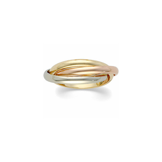 .5 > Ring > Rolling > Band > Three > 2.5mm > White > Rose & 14kt > 14kt > Yellow, > 14kt