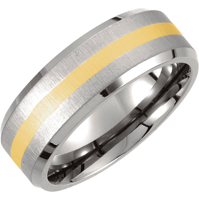 .5 > Band > Finish > Titanium & 14kt > Beveled > 8mm > Inlay > Yellow > Titanium & 14kt