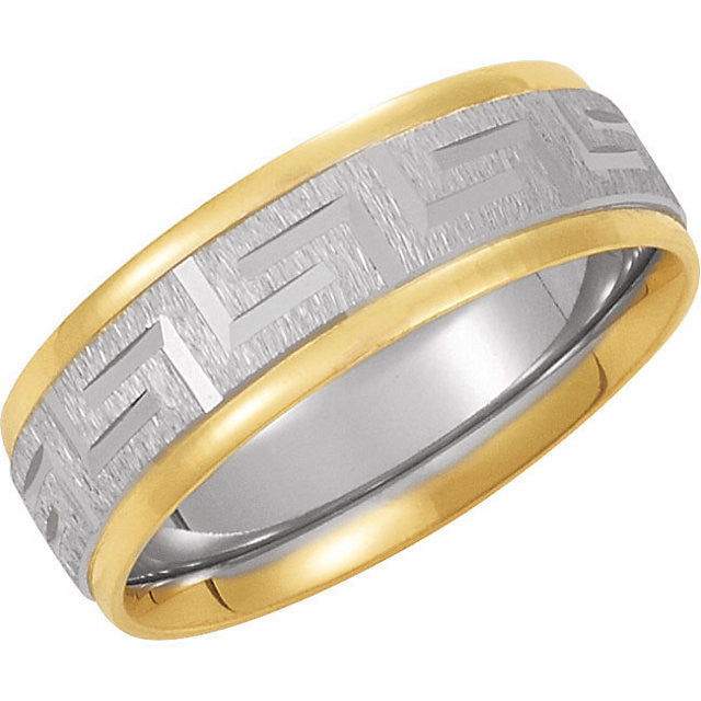 Band > Design > Fit > Comfort > Two-Tone > 7mm > White > Yellow & 14kt > 14kt