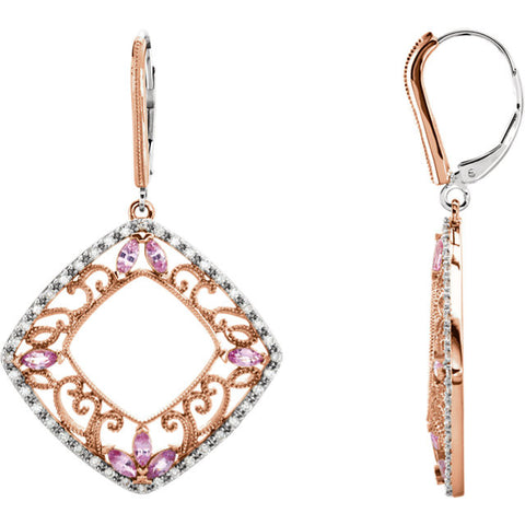 Earrings > Diamond > CTW > 1/Sapphire & 1 > Pink > Yellow > 14kt