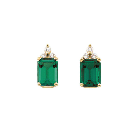 Earrings > Diamond > CTW > 1/Emerald & 1 > Created > Chatham®
