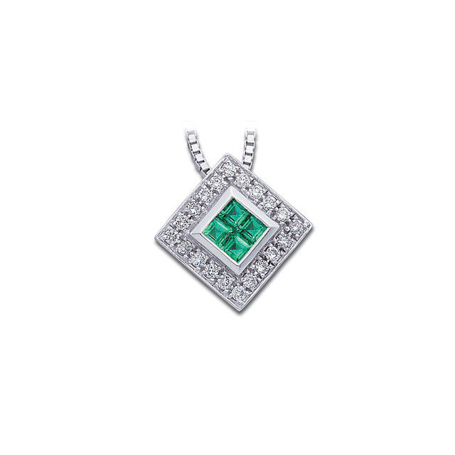 Necklace > Diamond > and > Emerald > Genuine