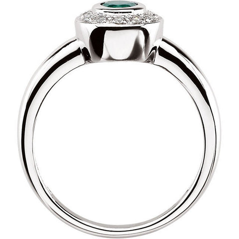 Ring > Diamond > .06 CTW > & > Emerald
