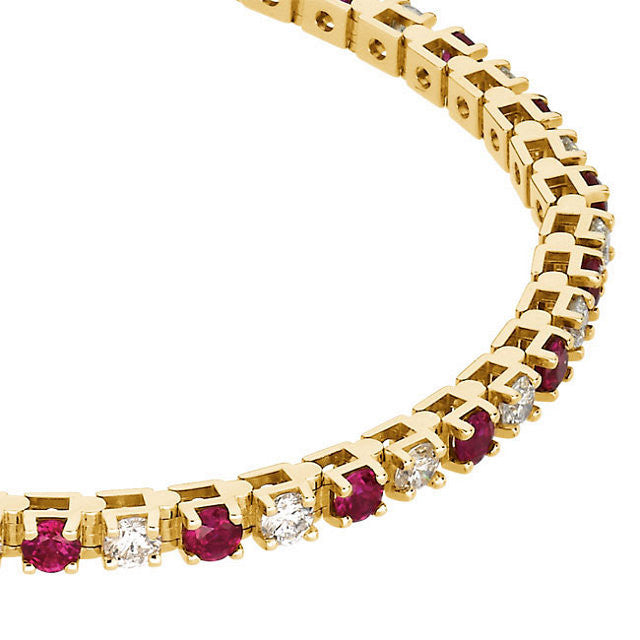 "Bracelet > 7.25"" > Diamond > 3/8 CTW > Ruby & 2"