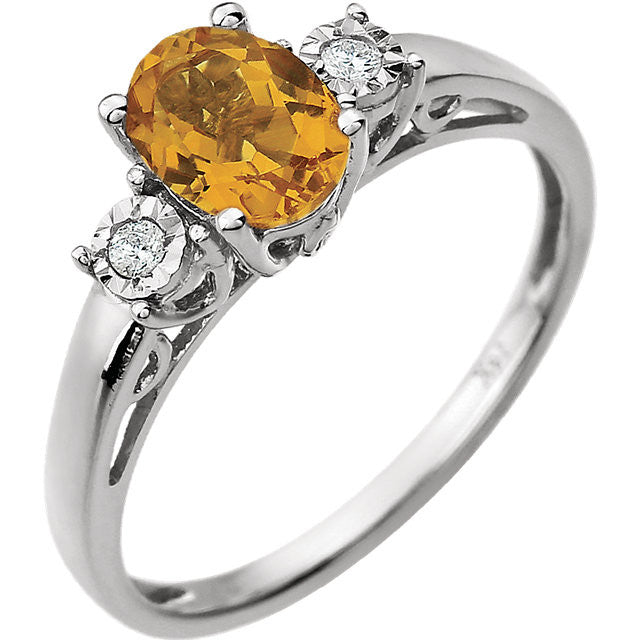 Ring > Diamond > .04 CTW > & > Citrine.*Multiple Diamond Cuts and Weights available*